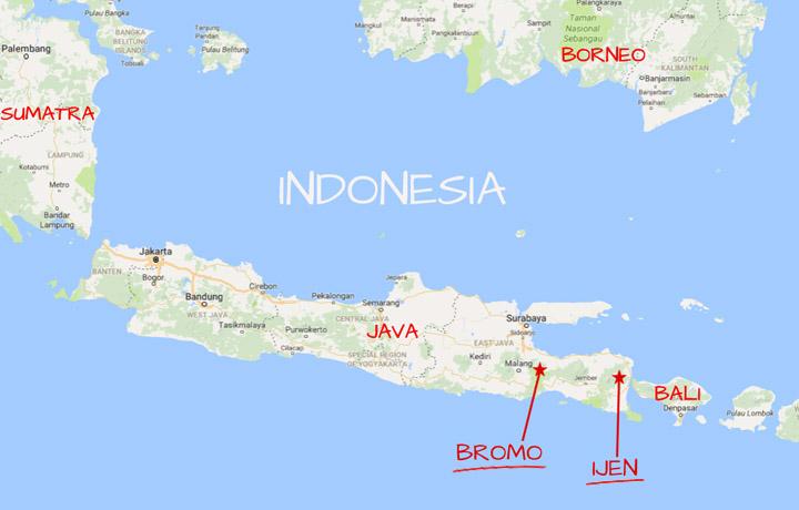 Mappa Bromo e Ijen